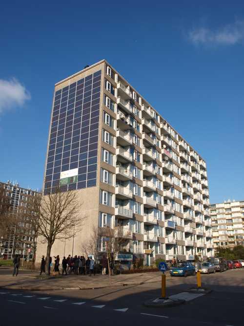 Utrechti lakóház napelemekkel